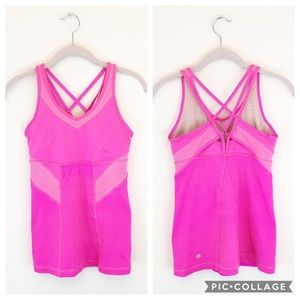 Lululemon | Solid Pink Strappy Built in Bra Tank